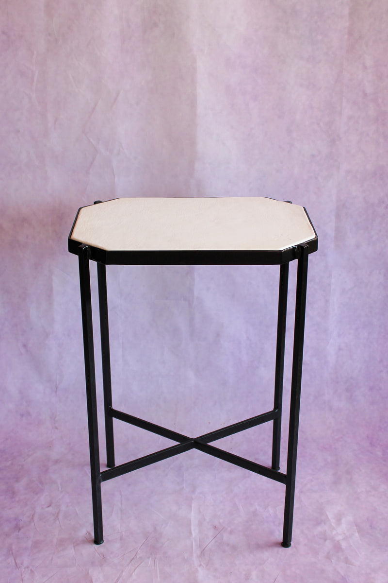 Octagon Leather Top Cocktail Table - Bright White
