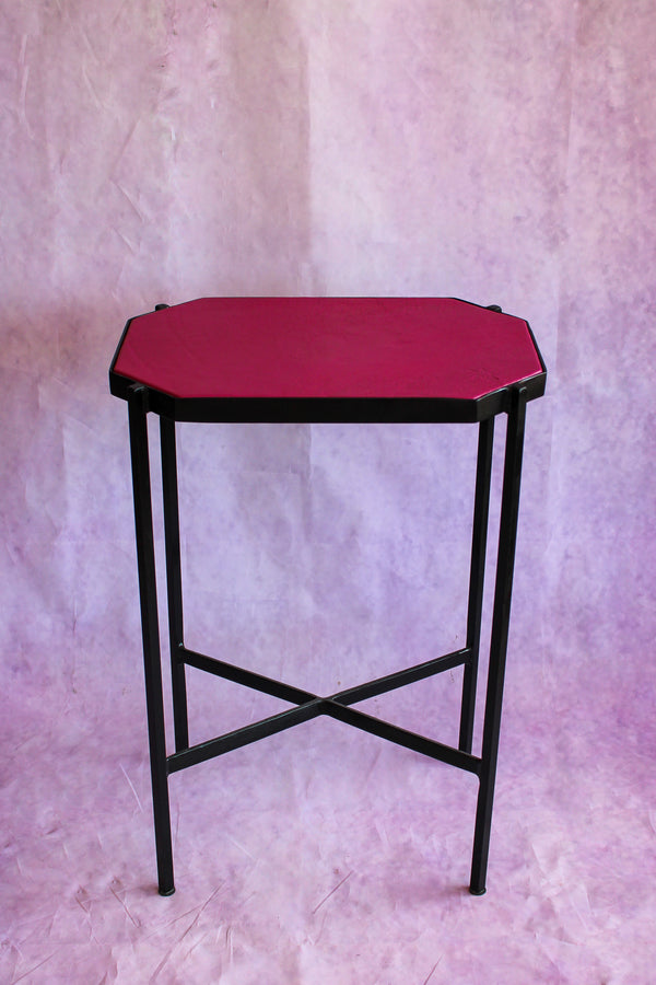Octagon Leather Top Cocktail Table - Bougainvillea Pink