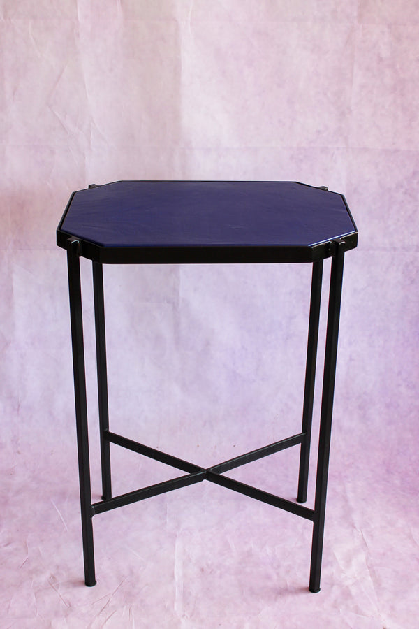 Octagon Leather Top Cocktail Table - Majorelle Blue