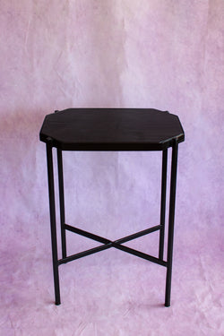 Octagon Leather Top Cocktail Table - Black