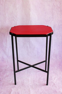 Octagon Leather Top Cocktail Table - Hot Red