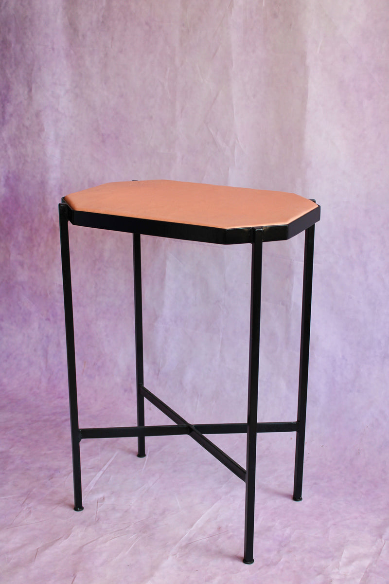 Octagon Leather Top Cocktail Table - Blush