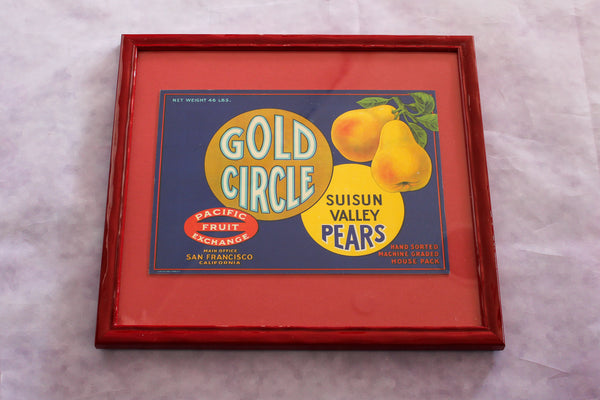 Framed Original Crate Label - Gold Circle