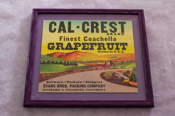 Framed Original Crate Label - Cal Crest Coachella