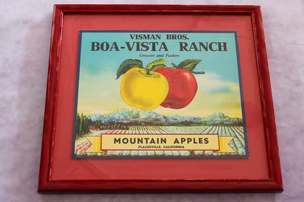 Framed Original Crate Label - Boa Vista Ranch
