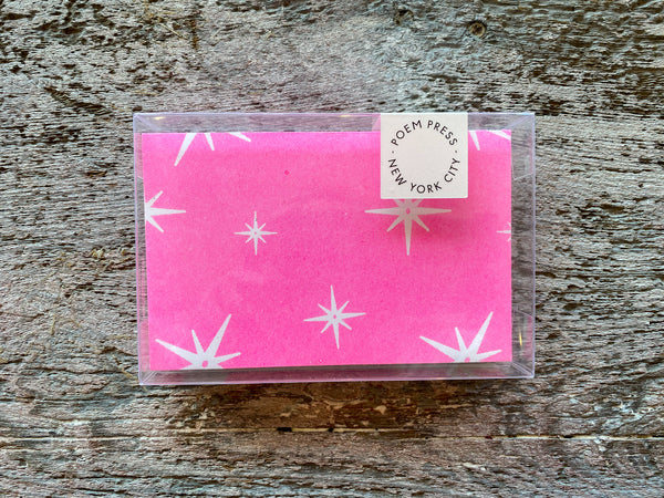 Poem Press Notecards Set of 12 - Pink Stars