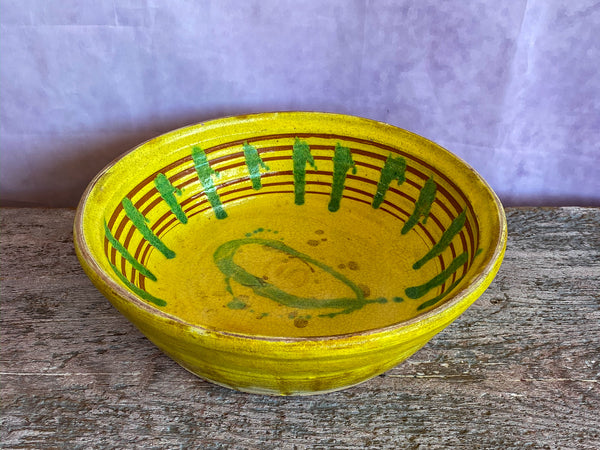 Anatolian Kinik Terra Cotta Bowl Yellow / Green
