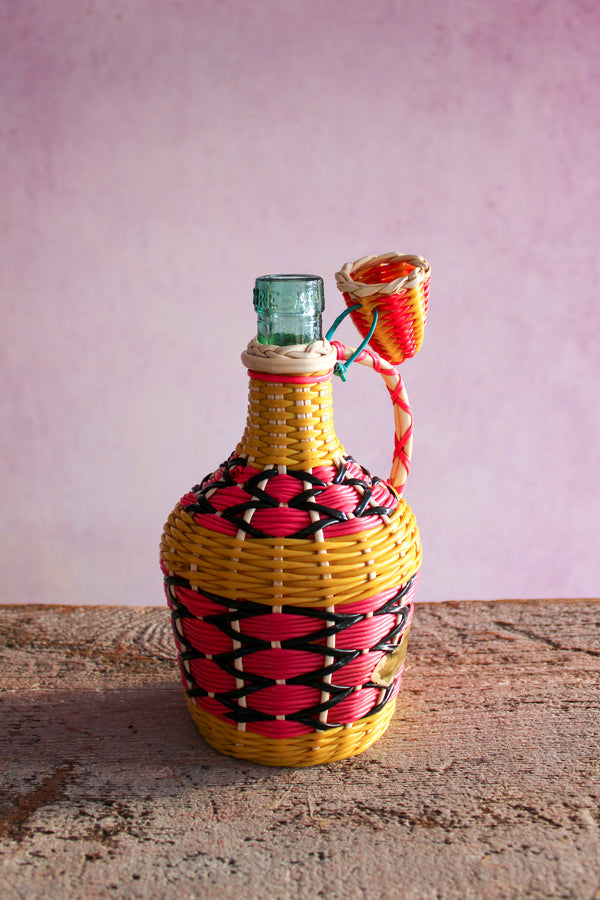 Vintage Short Round Scoubidou Bottle - Yellow, Pink, & Black