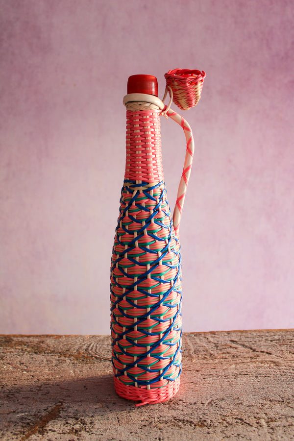 Vintage Tall Scoubidou Bottle - Blue & Pink