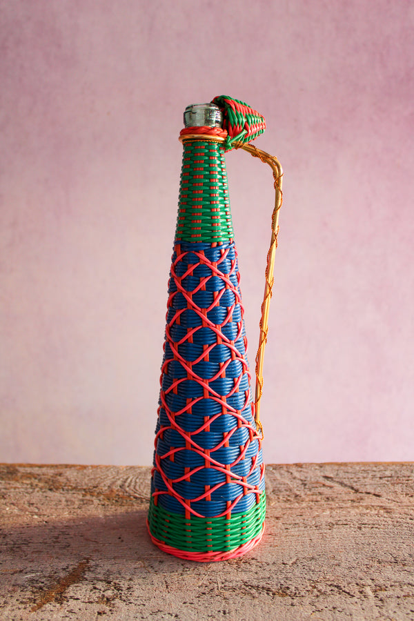 Vintage Tall Scoubidou Bottle - Blue, Green, Pink
