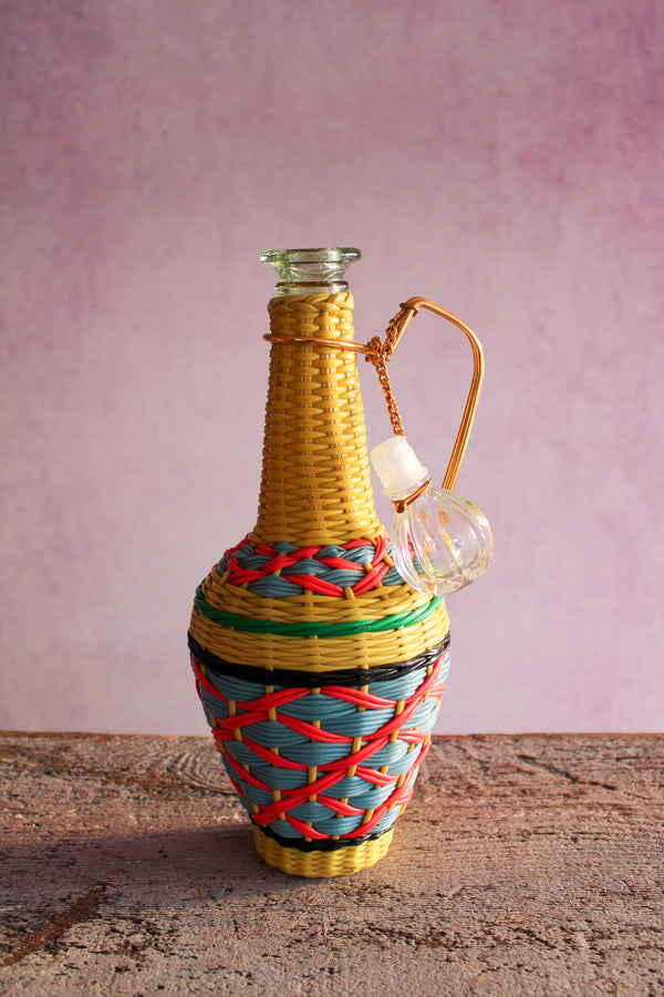 Vintage Tall Scoubidou Bottle w/ Crystal Top -  Yellow, Pink, Blue