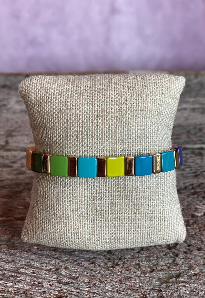 Color Tile Bracelet - Rainbow Square