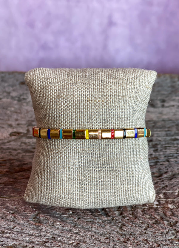 Supernova Bracelet - Gold Spaced Rainbow