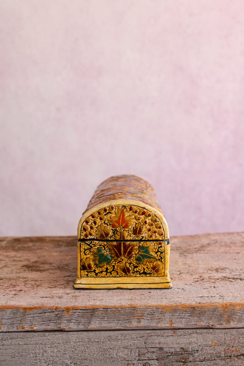 Vintage Hand Painted Box - Gold and Multi Floral