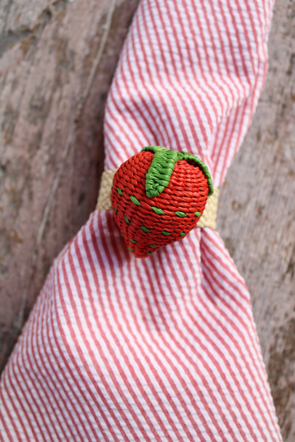 Woven Fruit Napkin Ring - Red Strawberry