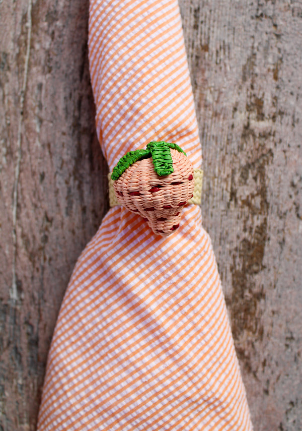 Woven Fruit Napkin Ring - Pink Strawberry