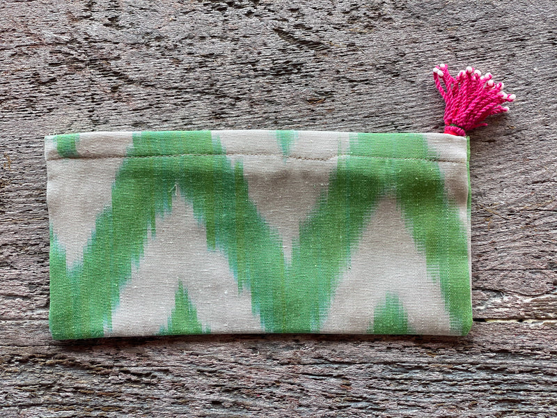Silk Ikat Zip Pouch with Tassel Pull - Green