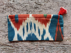 Silk Ikat Zip Pouch with Tassel Pull - Multi