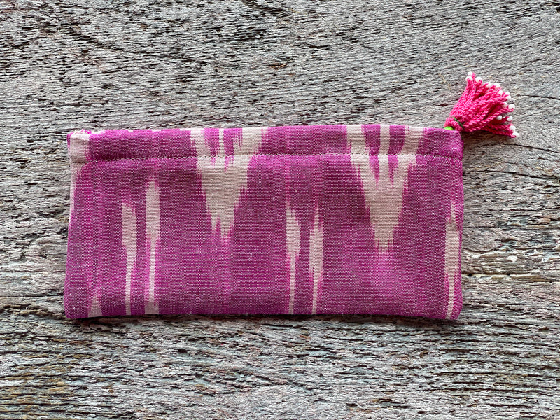 Silk Ikat Zip Pouch with Tassel Pull - Pink