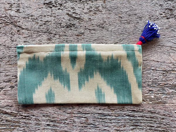 Silk Ikat Zip Pouch with Tassel Pull - Blue