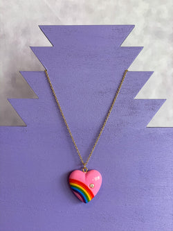 Rainbow Heart Necklace with Diamond - Pink