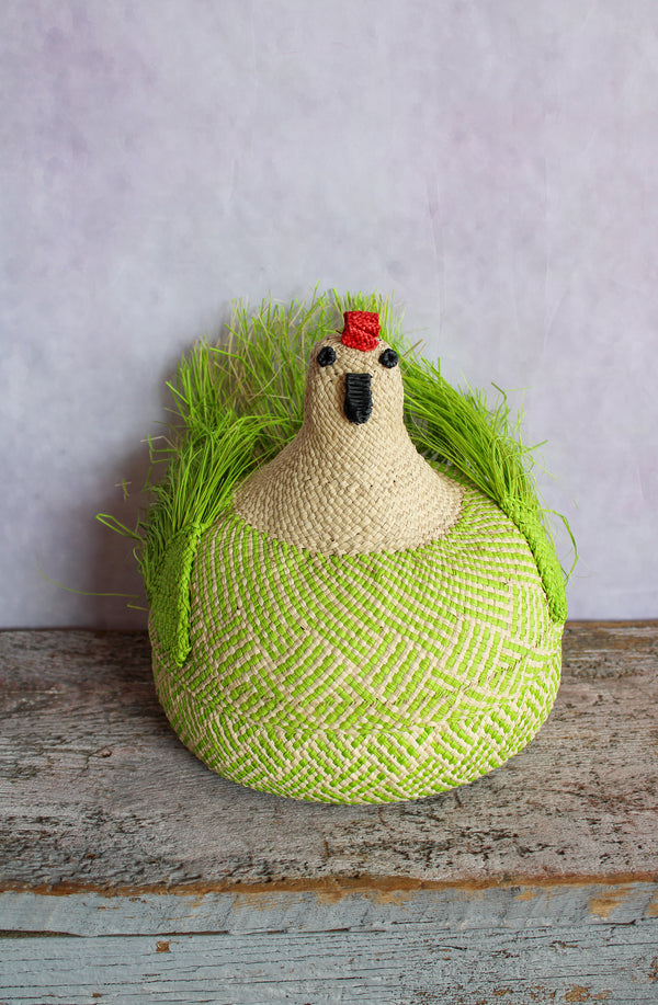 Gallina Jospehina (Woven Chicken Basket) - Green & Natural