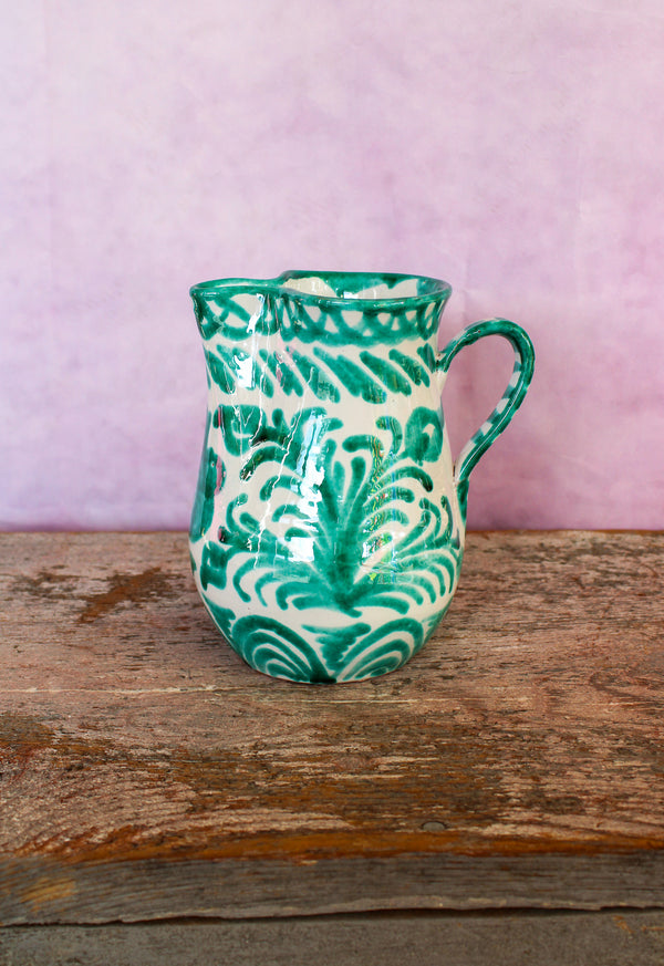 Small Hand Painted Pitcher - Green