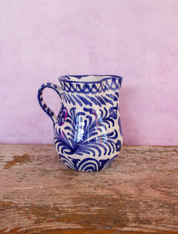 Small Hand Painted Pitcher - Blue