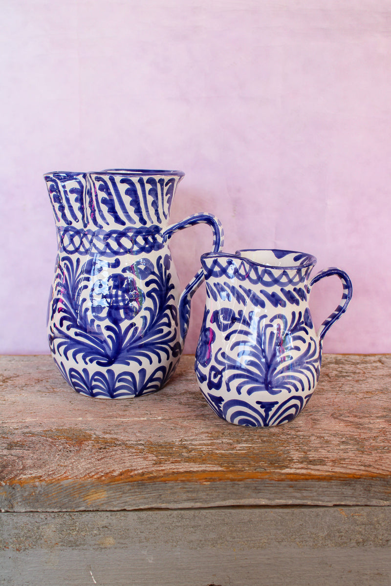 Medium Hand Painted Pitcher - Blue