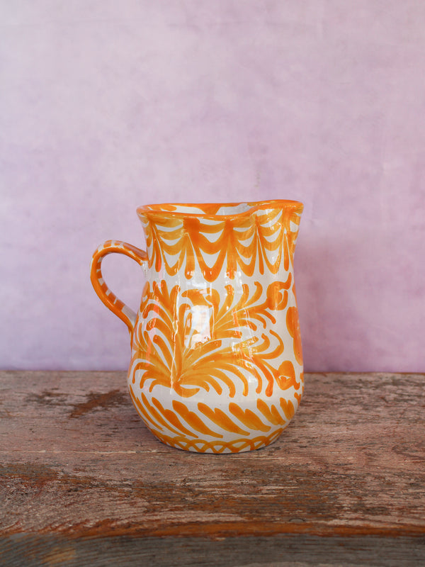 Small Hand Painted Pitcher - Yellow