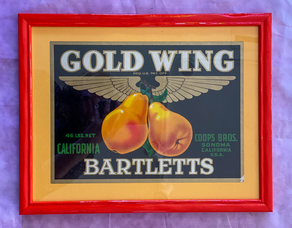 Framed Original Crate Label - Gold Wing Pears