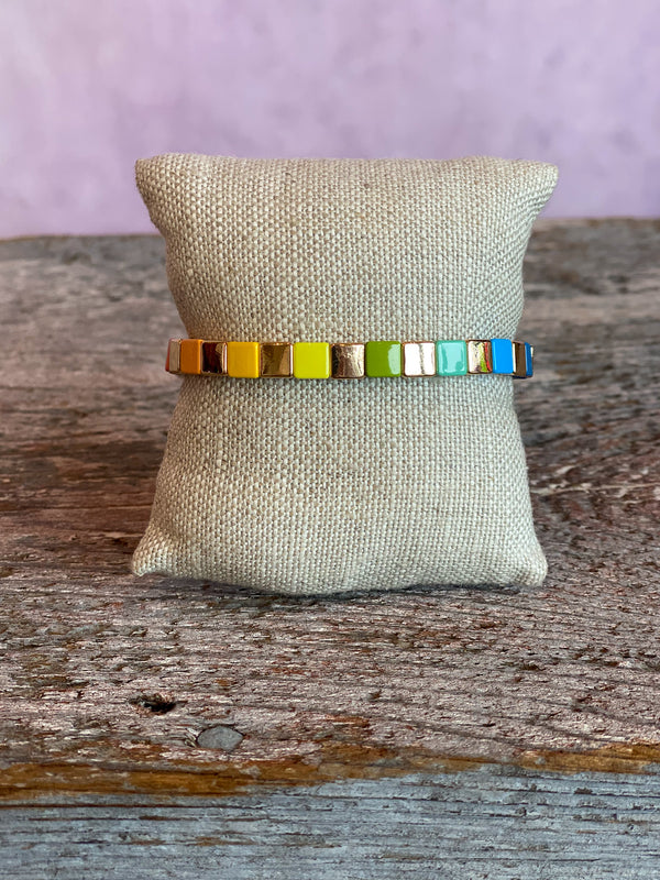 Tiny Tile Bracelet - Gold Rainbow