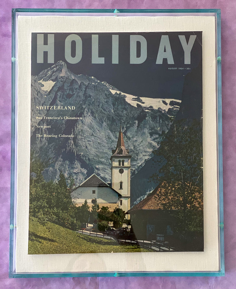 "Framed Holiday Magazine Cover - August 1954, ""Switzerland"""