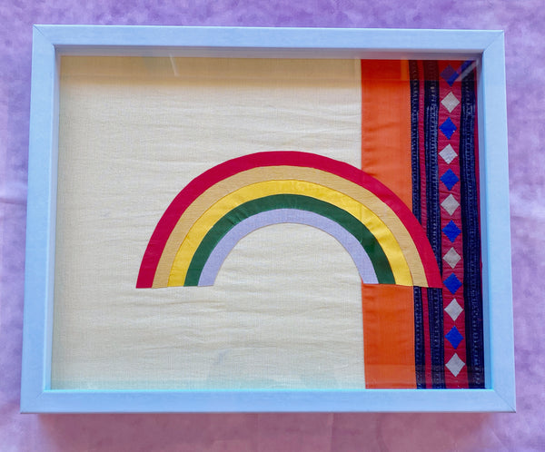 Vintage Rainbow Textile Collage Framed in Blue Leather