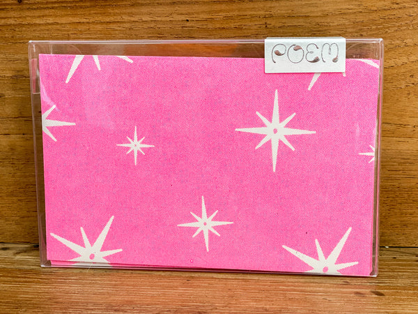 Notecards Set of 12 - Pink Stars