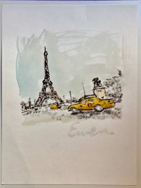 Paris - Eiffel Tower with Taxi (Original)