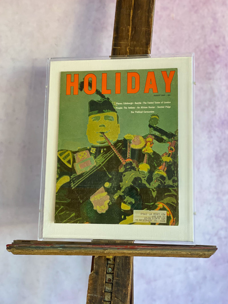 "Framed Holiday Magazine Cover - August 1965, ""Bagpiper"""