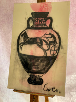 Grecian Urn with Chariot - Pink