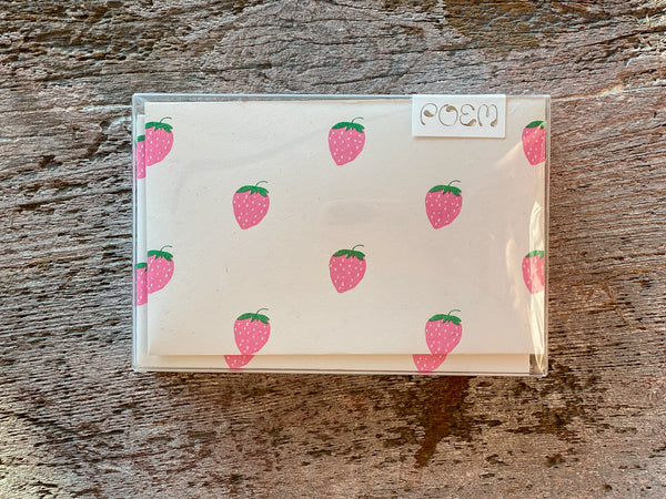 Notecards Set of 12 - Strawberry