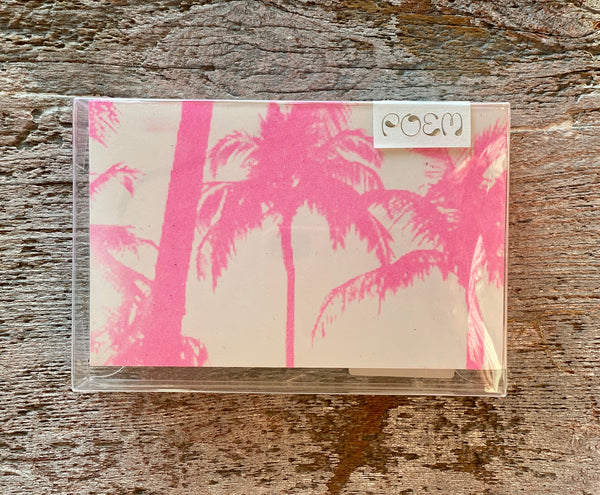 Notecards Set of 12 - Pink Palm