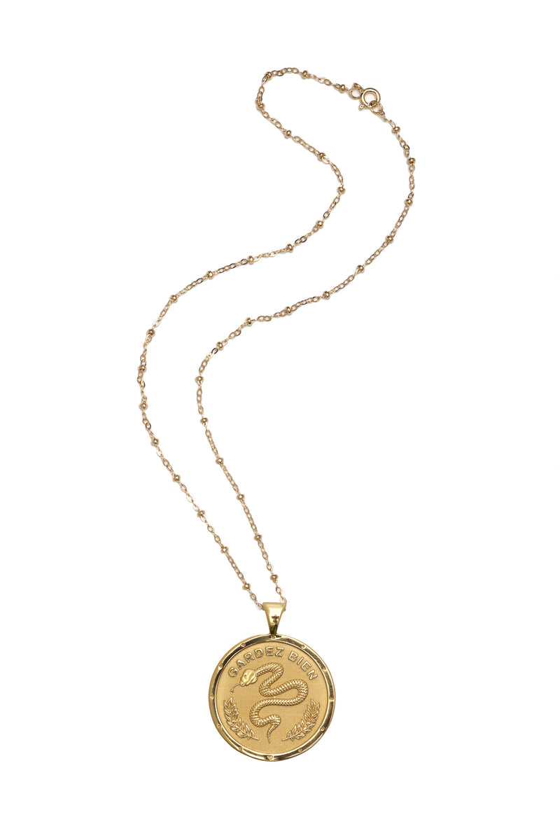 Coin Pendant Necklace - Protect
