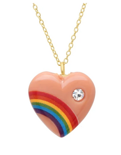 Rainbow Heart Necklace with Diamond - Peach