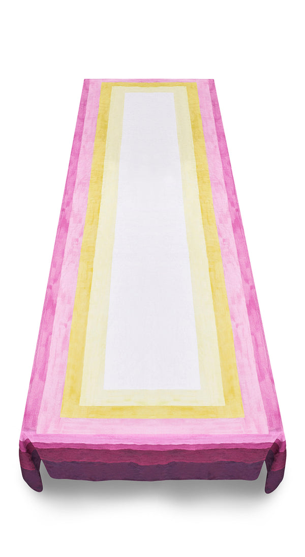 Shades of Pink Linen Tablecloth