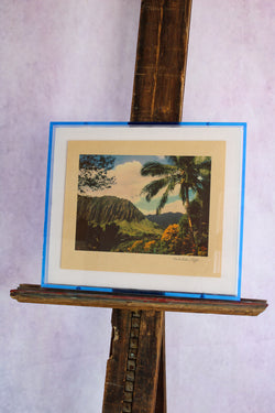 1950s Photo Print with Neon Lucite Frame - Keahiakahoe Cliffs