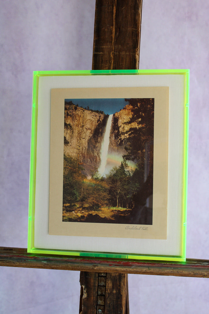 1950s Photo Print with Neon Lucite Frame - Bridalveil Falls
