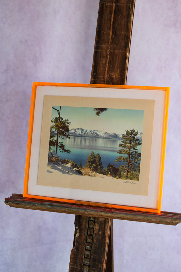 1950s Photo Print with Neon Lucite Frame - Lake Tahoe