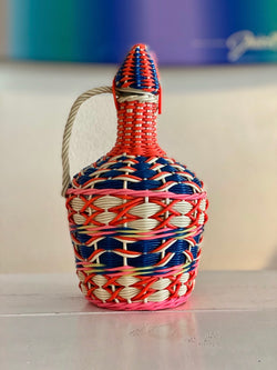 Vintage Round Scoubidou Bottle - Red & Blue