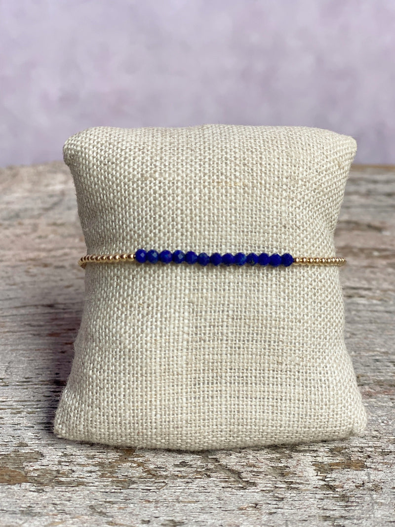 Gold Filled Ball Bracelet 2mm with Lapis