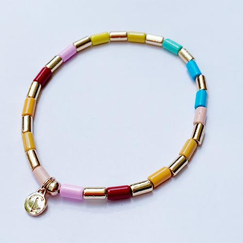 Tube Tile Bracelet - Rainbow Gold