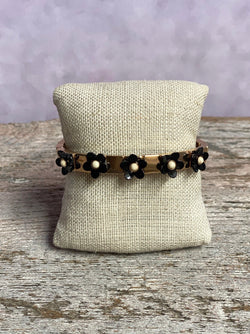 Flower Tile Bracelet - Black
